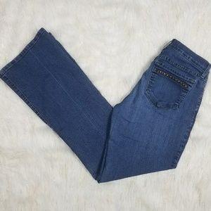 NYDJ High Waist Flare Jeans Studded Lift Tuck